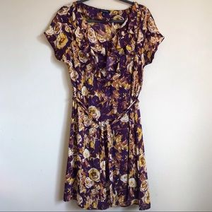 Land's End Purple Floral Georgette Ruffle Dress 8